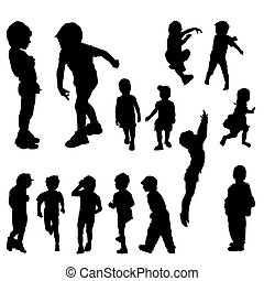 14 children silhouettes in different positions, illustration...