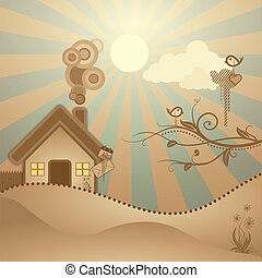 abstract rural scene ,illustration vector