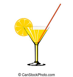 cocktail with lemon isolated on wite - ilustration of a...