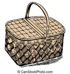 picnic basket against white background, abstract vector art...