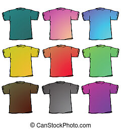 t shirts collection against white background, abstract...