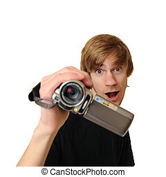 Young adult man with HD Camcorder - Young adult man holding...