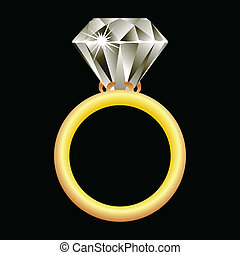 diamond ring against black background, abstract vector art...