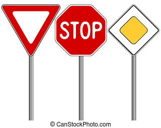 traffic signs against white background, abstract vector art...