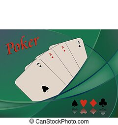 poker cards composition, abstract vector art illustration