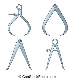 different tipes of calipers against white background,...