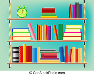 suspended bookshelf, abstract vector art illustration
