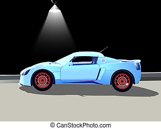 sport car and street lamp