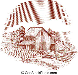 Woodcut Barn - Woodcut style illustration of an old barn