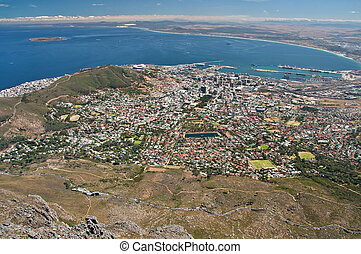 aerial view cape town city - aerial view of city of Cape...