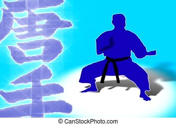 Blue Martial Arts Silhouette