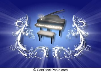 Grand Piano with Candelabra