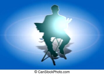 Man on Folding Chair with Laptop