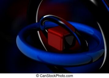 Silver and Blue Interlocking Rings Rotate Around a Red Box