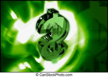 Rotating Green Dollar Sign