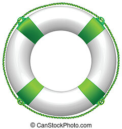 green life buoy against white background, abstract vector...