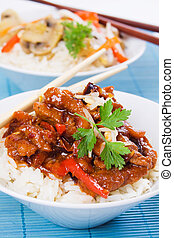 Chinese pork meat with rice