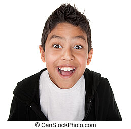 Very Happy Youngster - Cute boy with a giant smile on a...