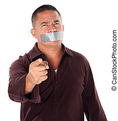Taped Mouth - Angry Hispanic man with duct tape over his...
