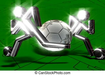 Silver Soccer Players and Ball