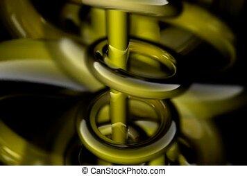Green Rings Circling Pole