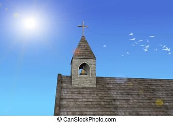 Birds and a Church Steeple