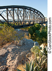Yuma crossing - Railroad bridge over Colorado river at Yuma...