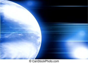White and Blue Orbiting Earth