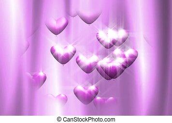 Pink Rising Hearts