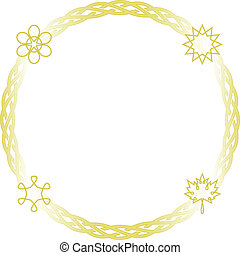 Celtic frame - round - Vector celtic seasons frame in gold