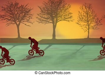 Riding Bikes at Sunset