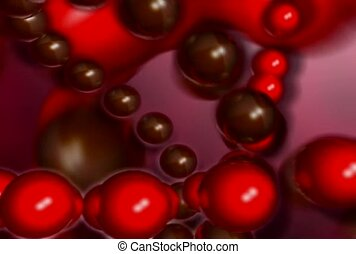 Strings of Red and Brown Balls Flowing