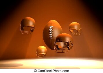 Helmets Revolving Around Football