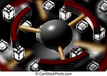 Cubes On A Belt Below A Spinning Wheel