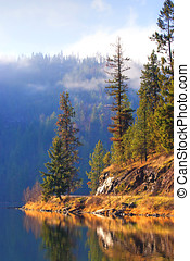 Fernan Lake, Idaho - A scenic area along the shore line of...