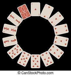 circle shape hearts playing cards isolated on black