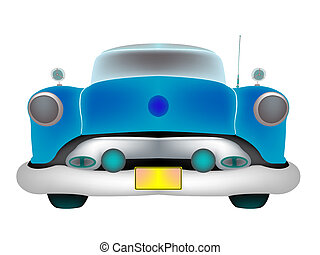 blue classic car front isolated on white