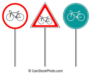 bike traffic signs against white background, abstract vector...