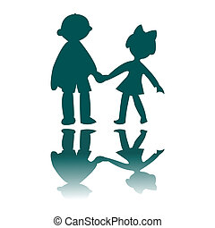 boy and girl blue silhouettes, vector art illustration, for...