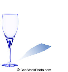 blue glass with space for text on white background, abstract...