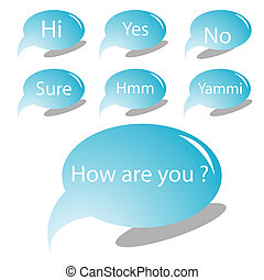 blue text bubbles, vector art illustration, for more text...