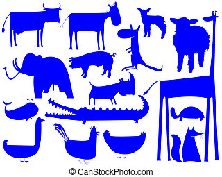 animal blue silhouettes isolated on white background
