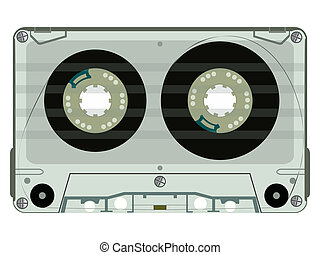 audio tape casette isolated on white, abstract vector art...