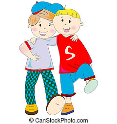 best friends cartoon against white background, abstract...