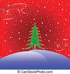christmas tree with stars background