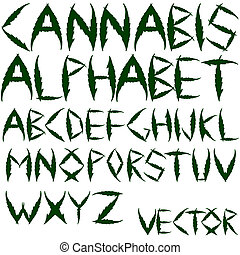 cannabis vector alphabet against white background, abstract...