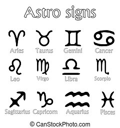 astro signs isolated on white background, abstract vector...