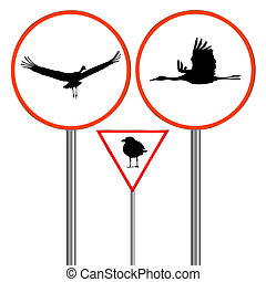 birds traffic sign