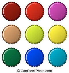 bottle caps in colors isolated on white background, abstract...
