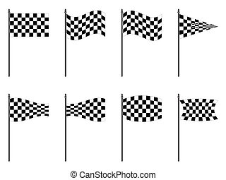 checkered flags collection against white background,...